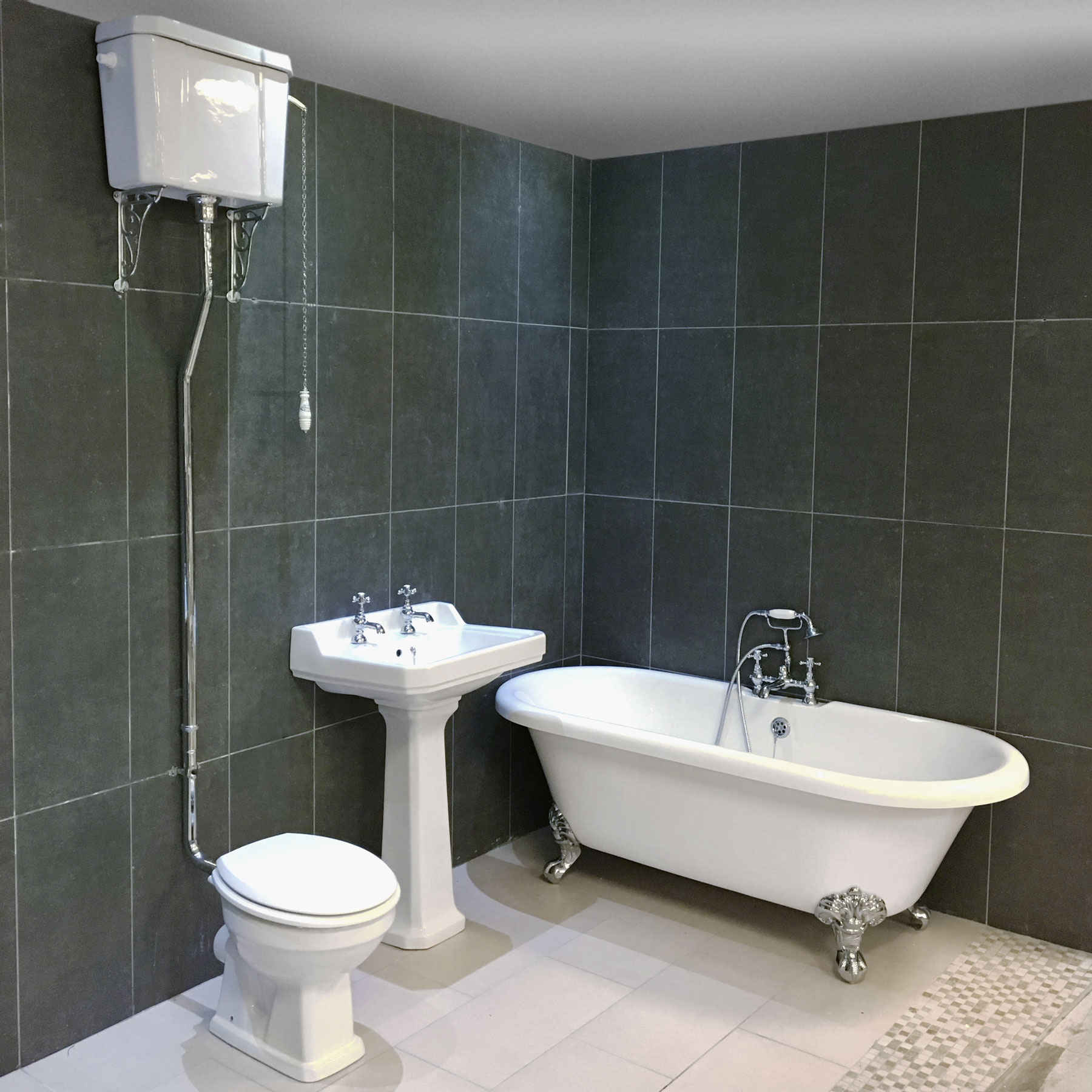 Petworth Traditional Roll Top Bath Suite High Level Toilet Bathroom ...