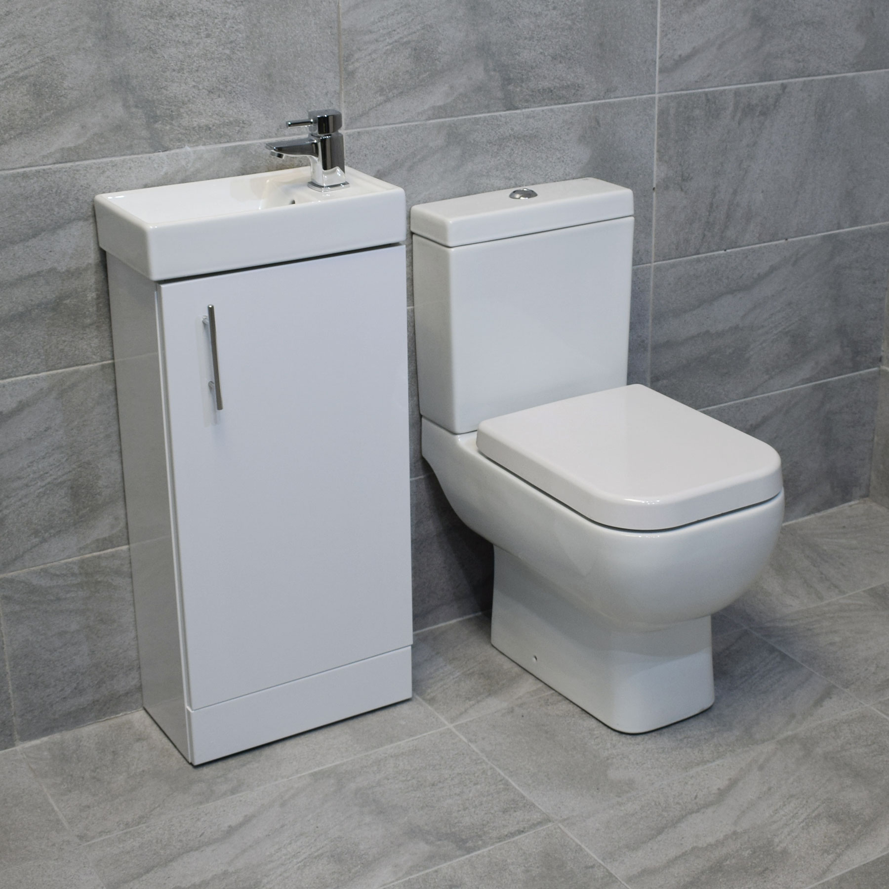 400mm square vanity sink unit with rak series 600 toilet for Washroom set