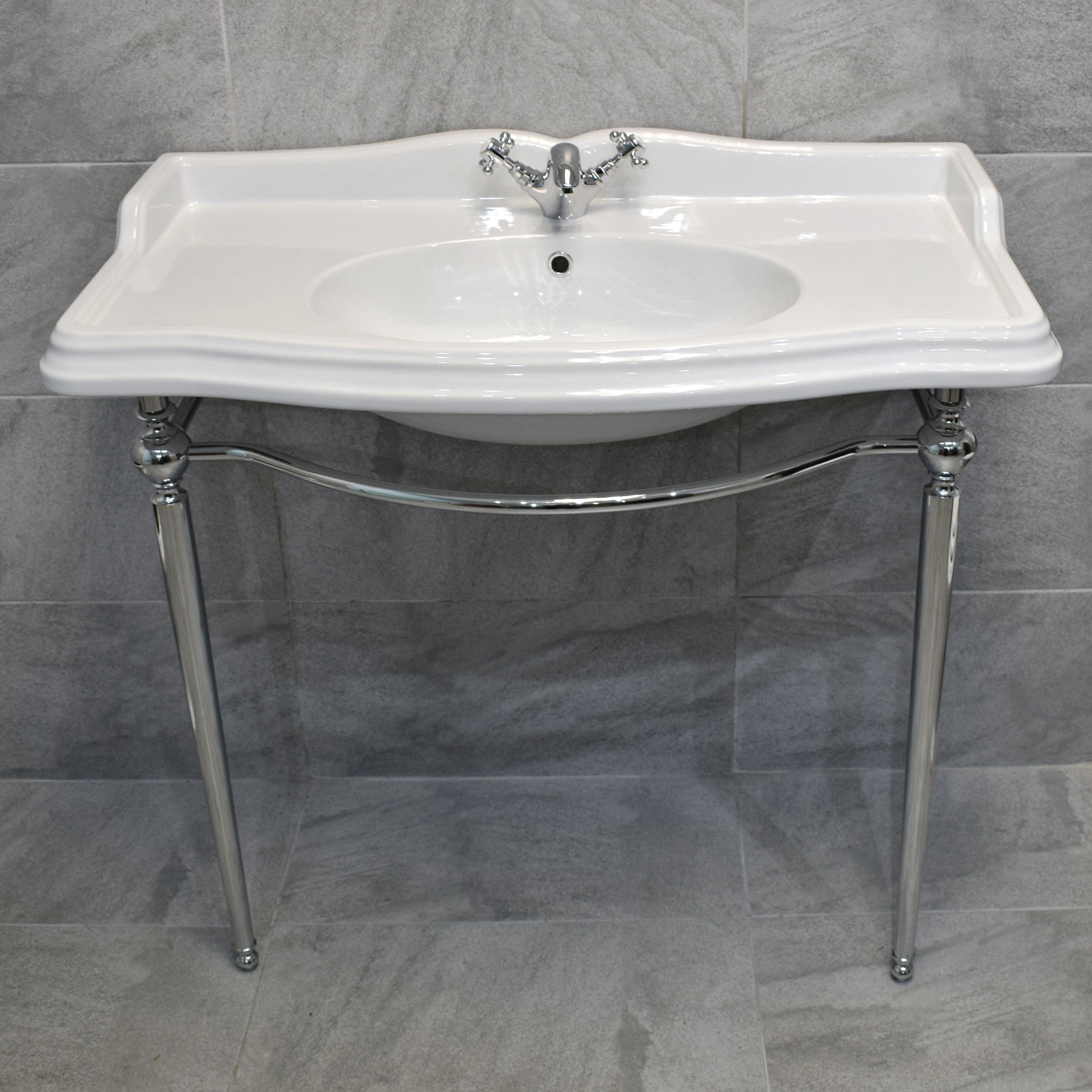 Console Sink Part - 46: Green Hall 1050mm Traditional Ceramic Basin With Chrome Washstand Console  Sink