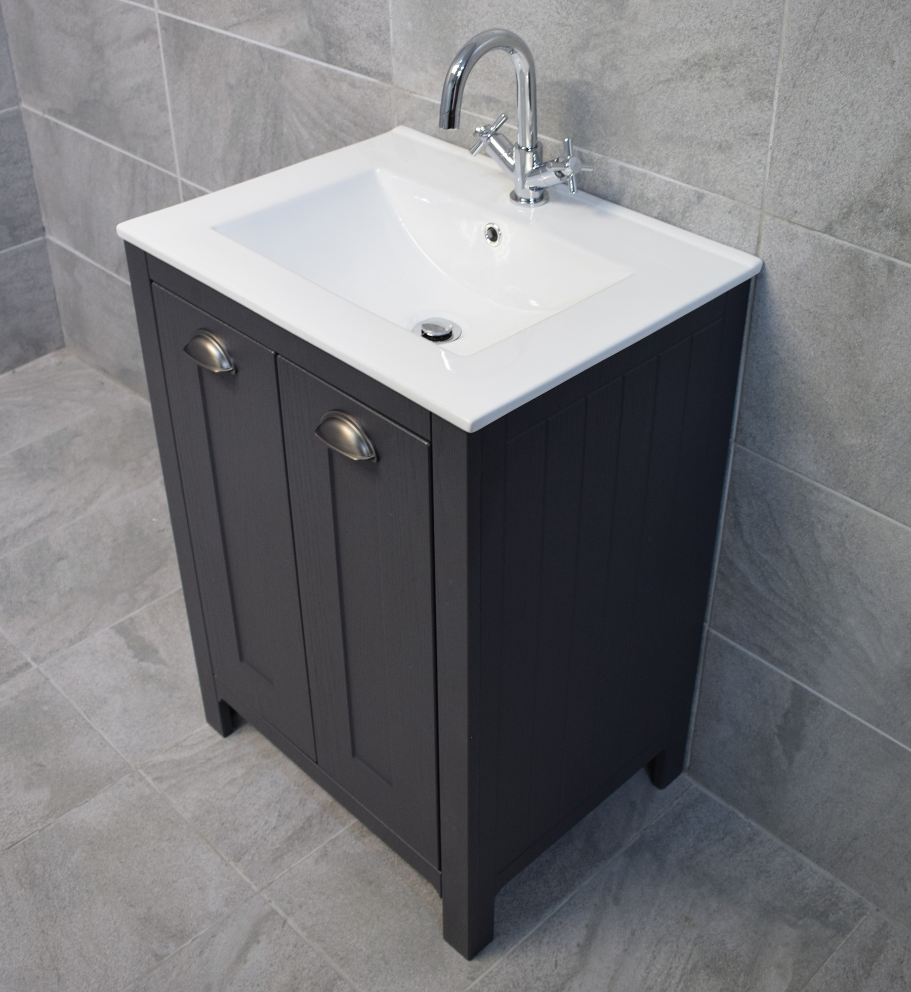 derby 600mm dark grey bathroom vanity sink basin unit. Black Bedroom Furniture Sets. Home Design Ideas