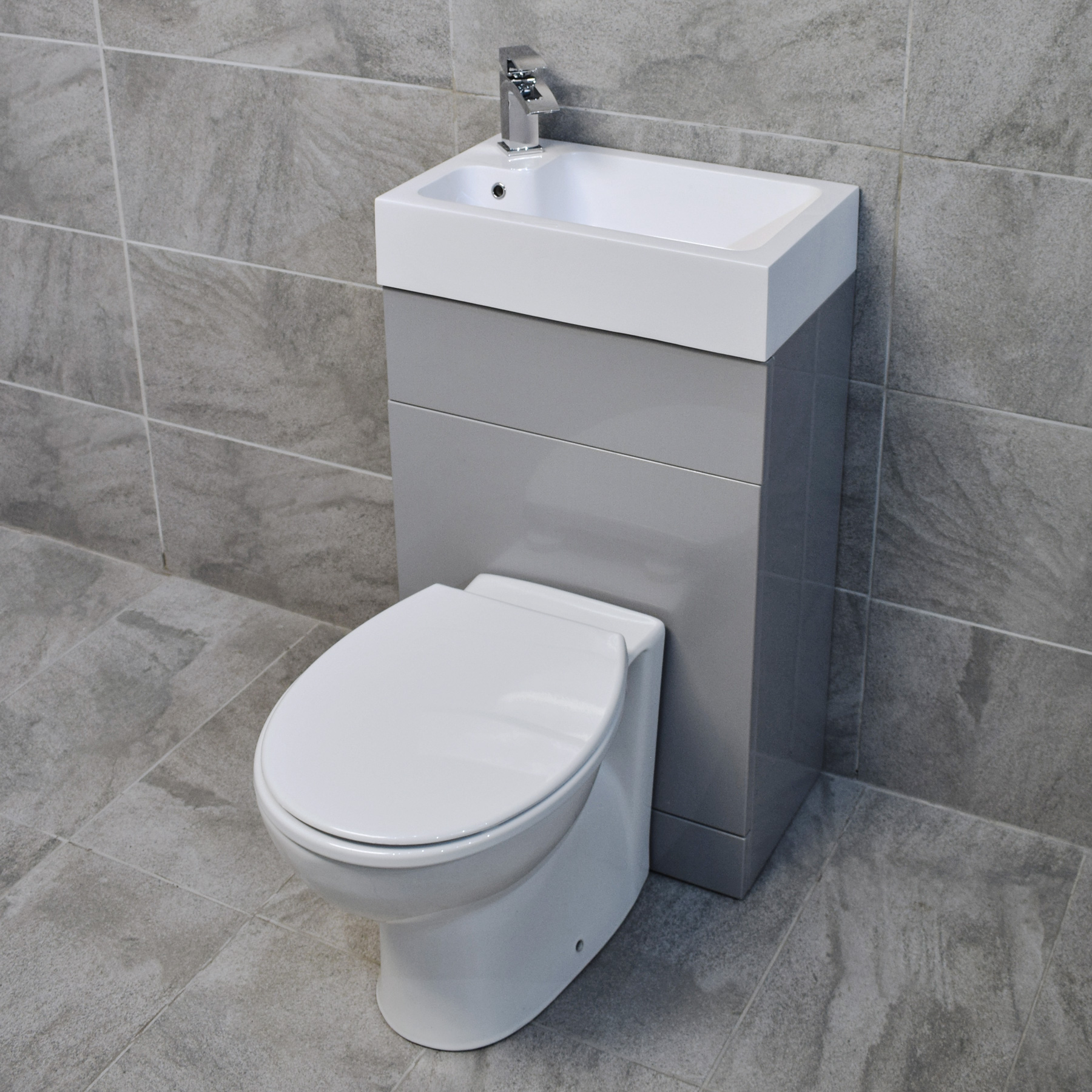 Grey Cloakroom All In One Space Saving Toilet Amp Basin Sink
