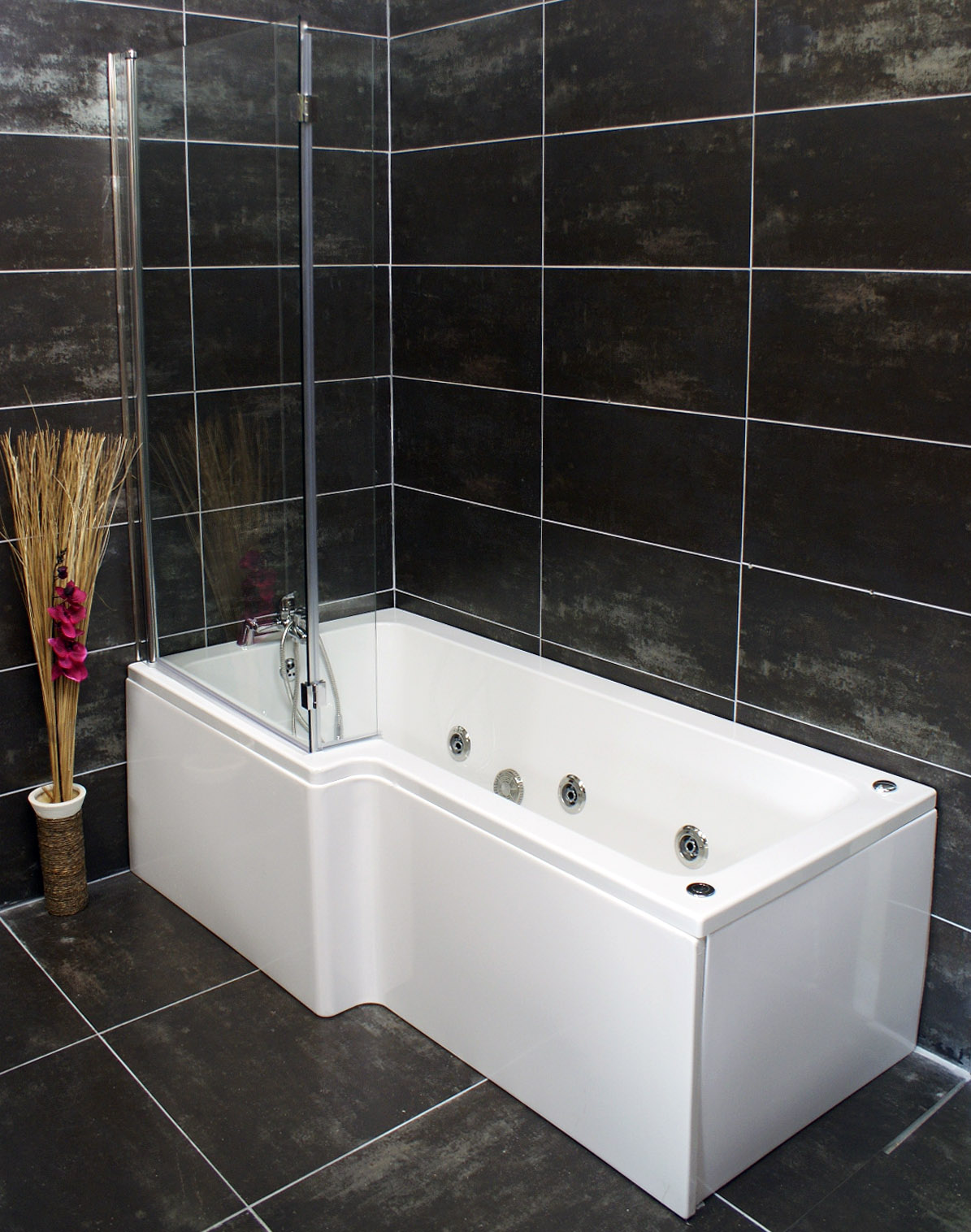 Left Hand L Shape Jacuzzi Type Spa Bath & L-Screen with Whirlpool ...