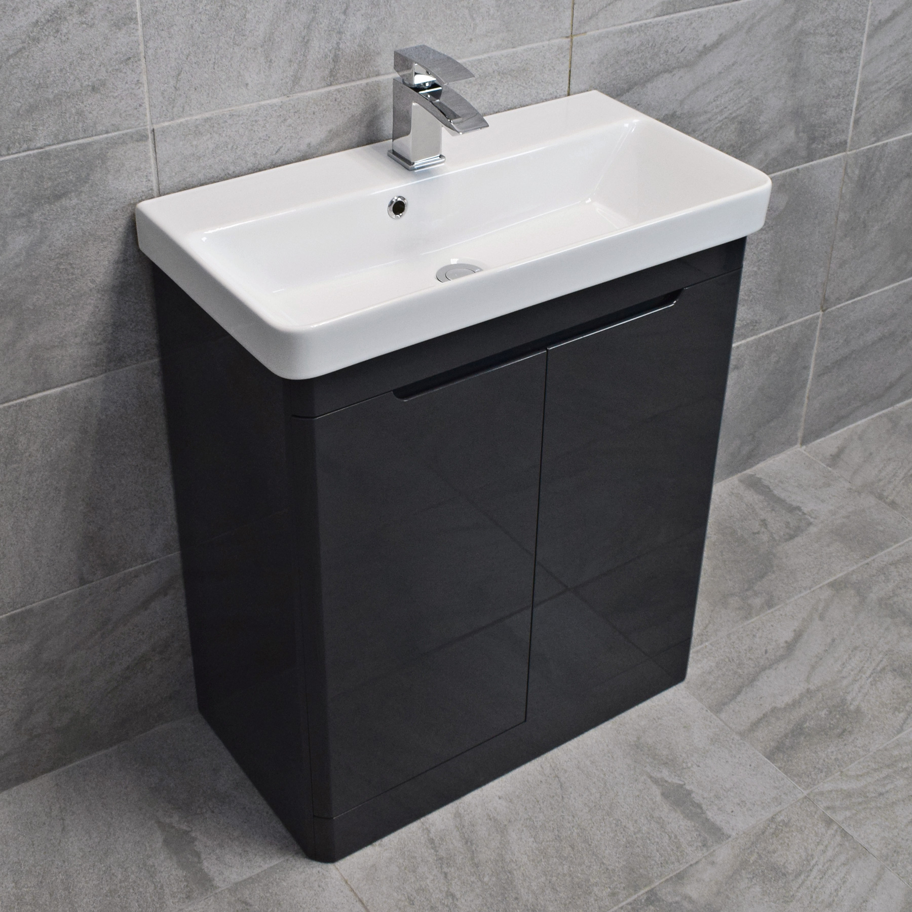 Ross Anthracite Curved Vanity Basin Sink Unit 550mm Or