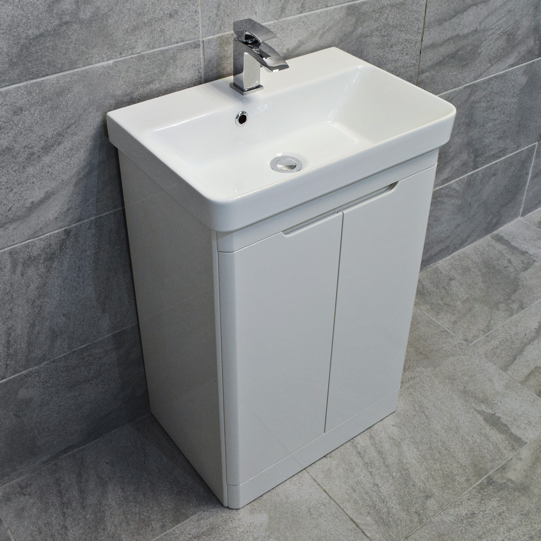 Ross White Gloss Curved Vanity Basin Sink Unit 550mm or 700mm ...