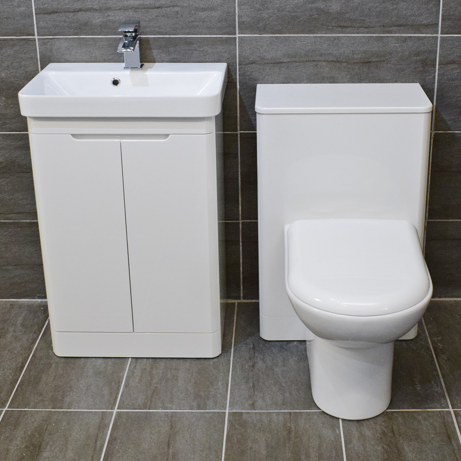 Rio White Gloss Curved Vanity Suite Sink Unit + Toilet