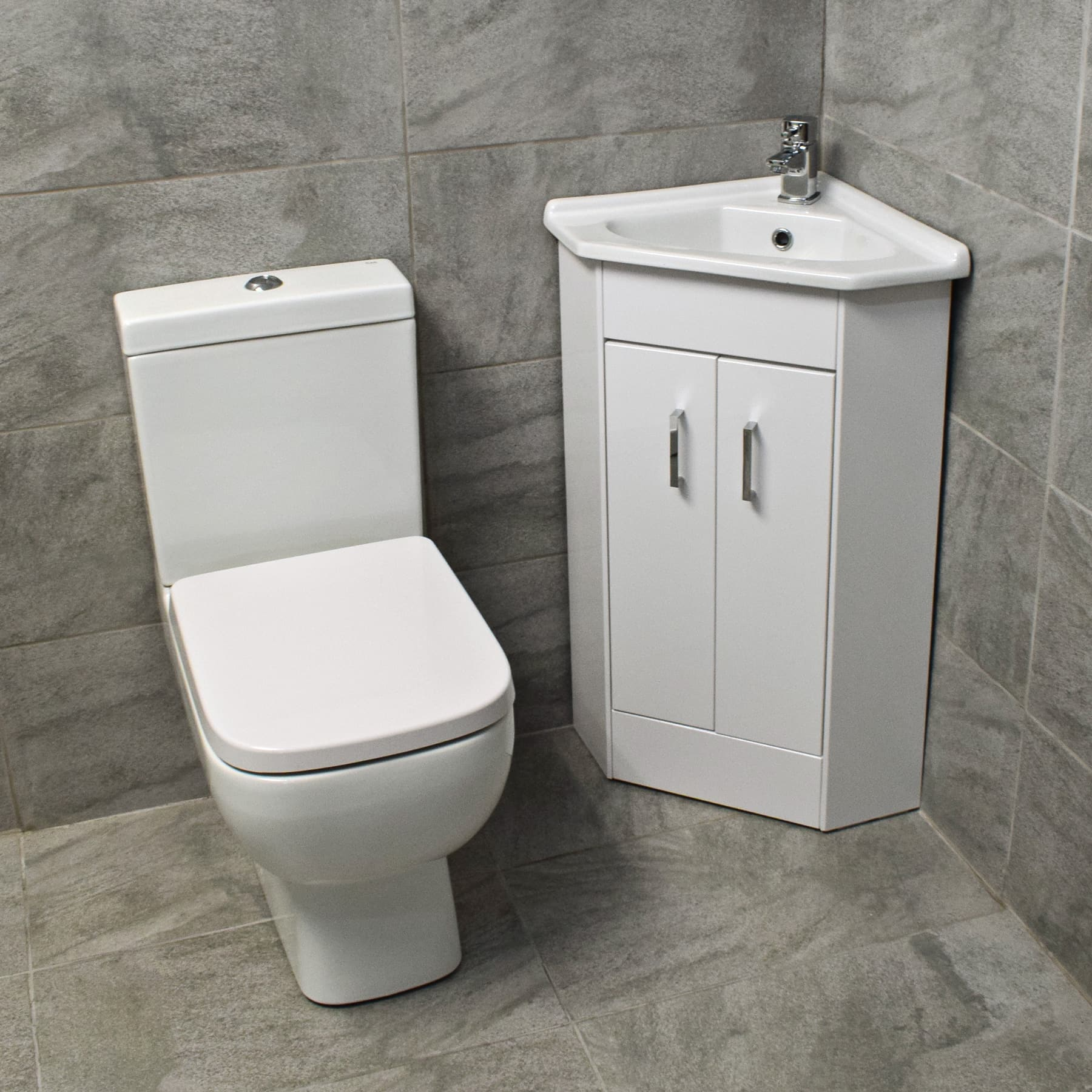 Corner Vanity 2 Door Basin Sink Unit + RAK Series 600 Compact Toilet ...