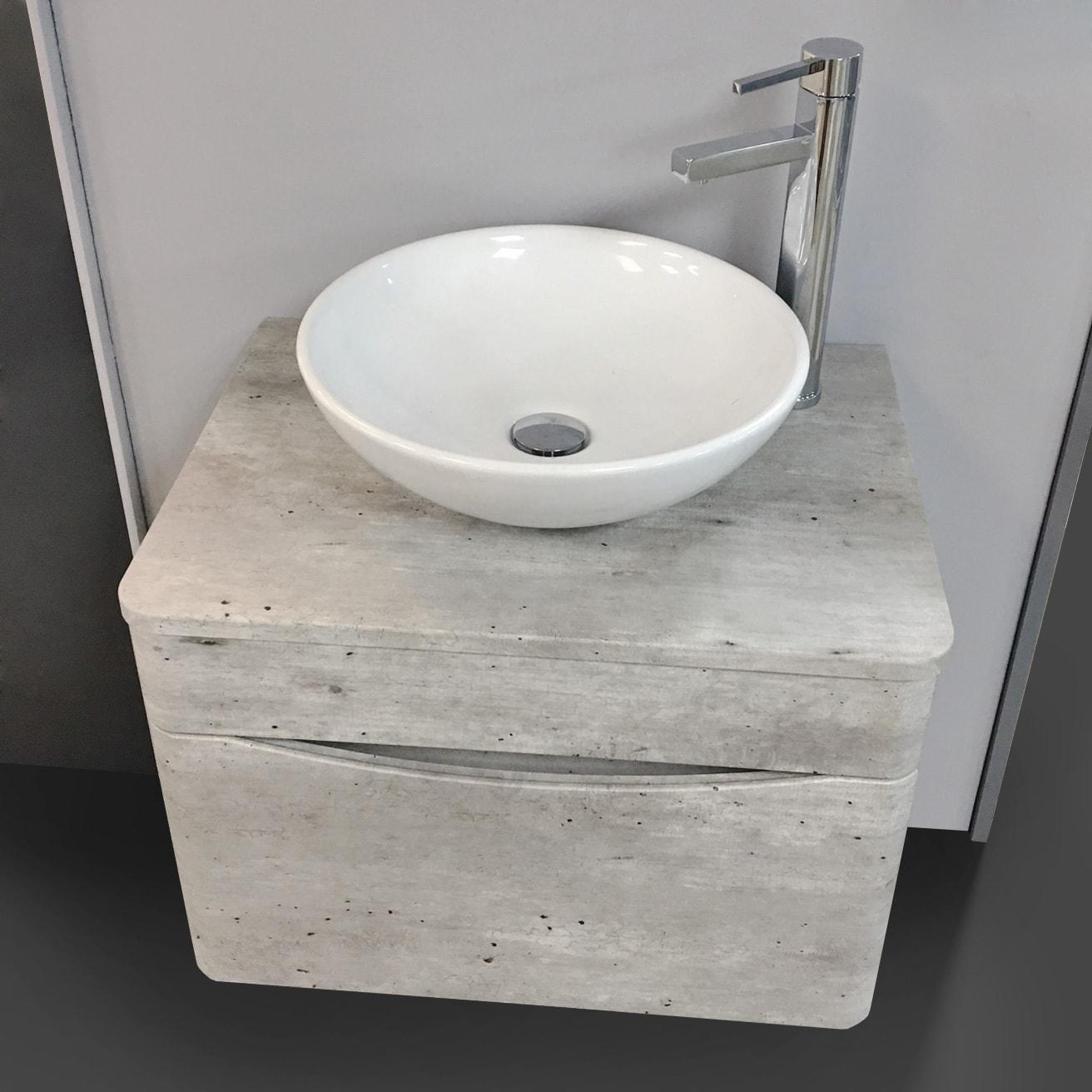huge selection of f3dd4 ff7bd Details about Moonstone Light Grey Wall Hung Vanity Unit Including Wok  Basin + Tall Tap