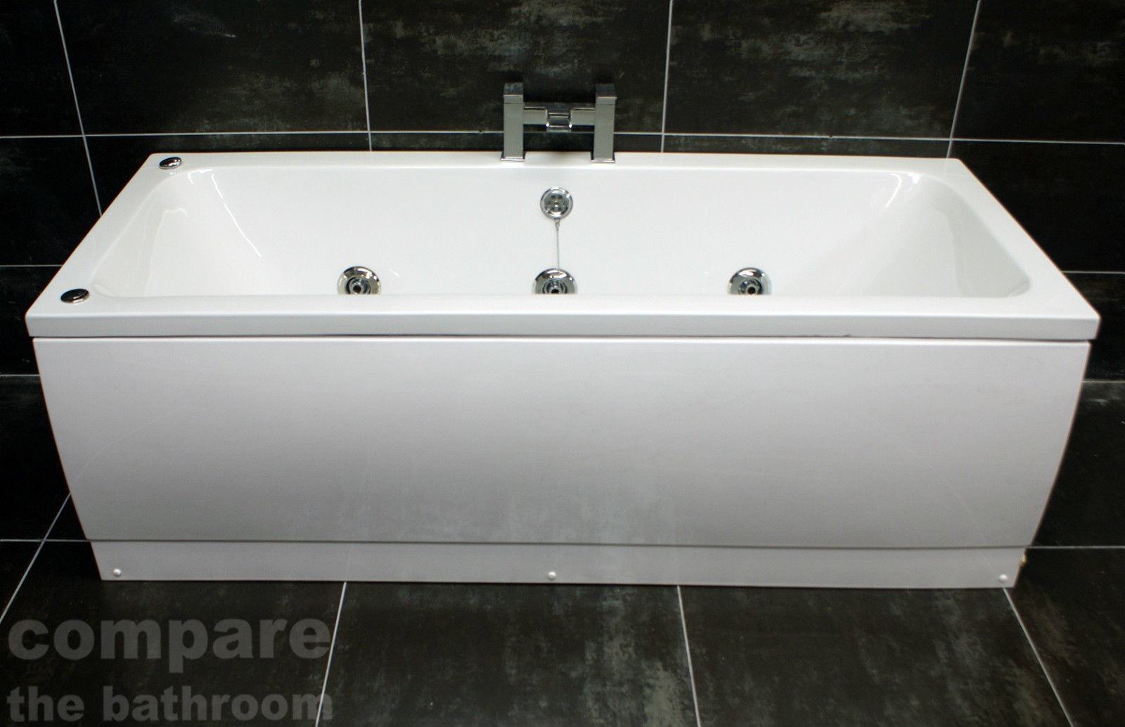 1700 x 700mm Double Ended Square Bath with Whirlpool Jacuzzi Spa ...