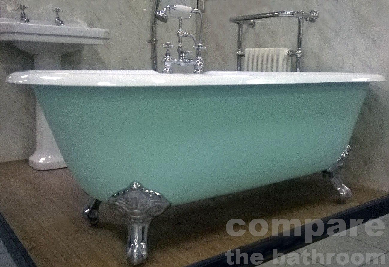 Cast Iron Roll Top Bath Tub Centre Tap Hole Ball & Claw Feet ...