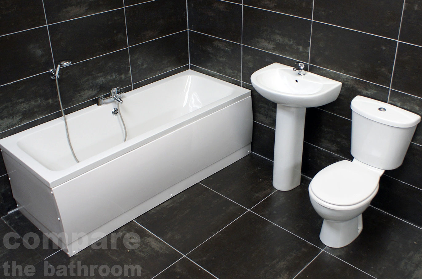 Mur Double Ended Bath & Basin and Toilet Set Bathroom Suite with ...