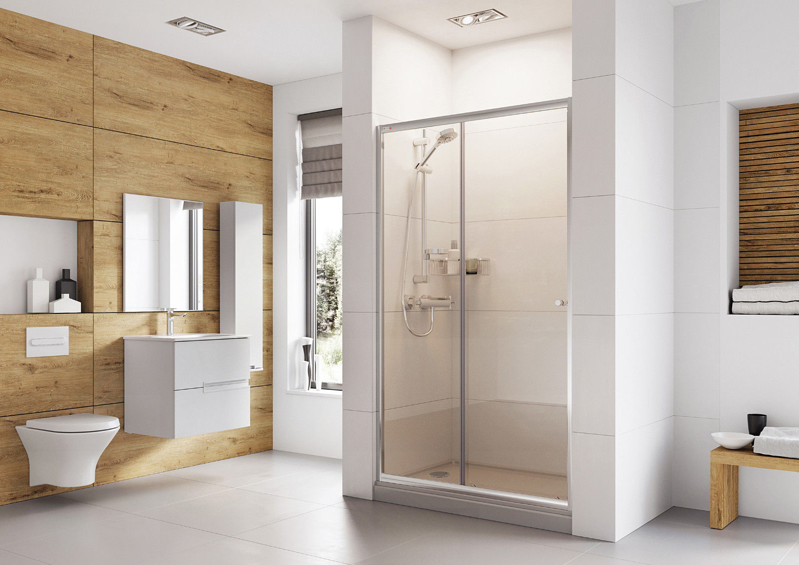 Roman Haven Sliding Shower Door With Optional Side Panel