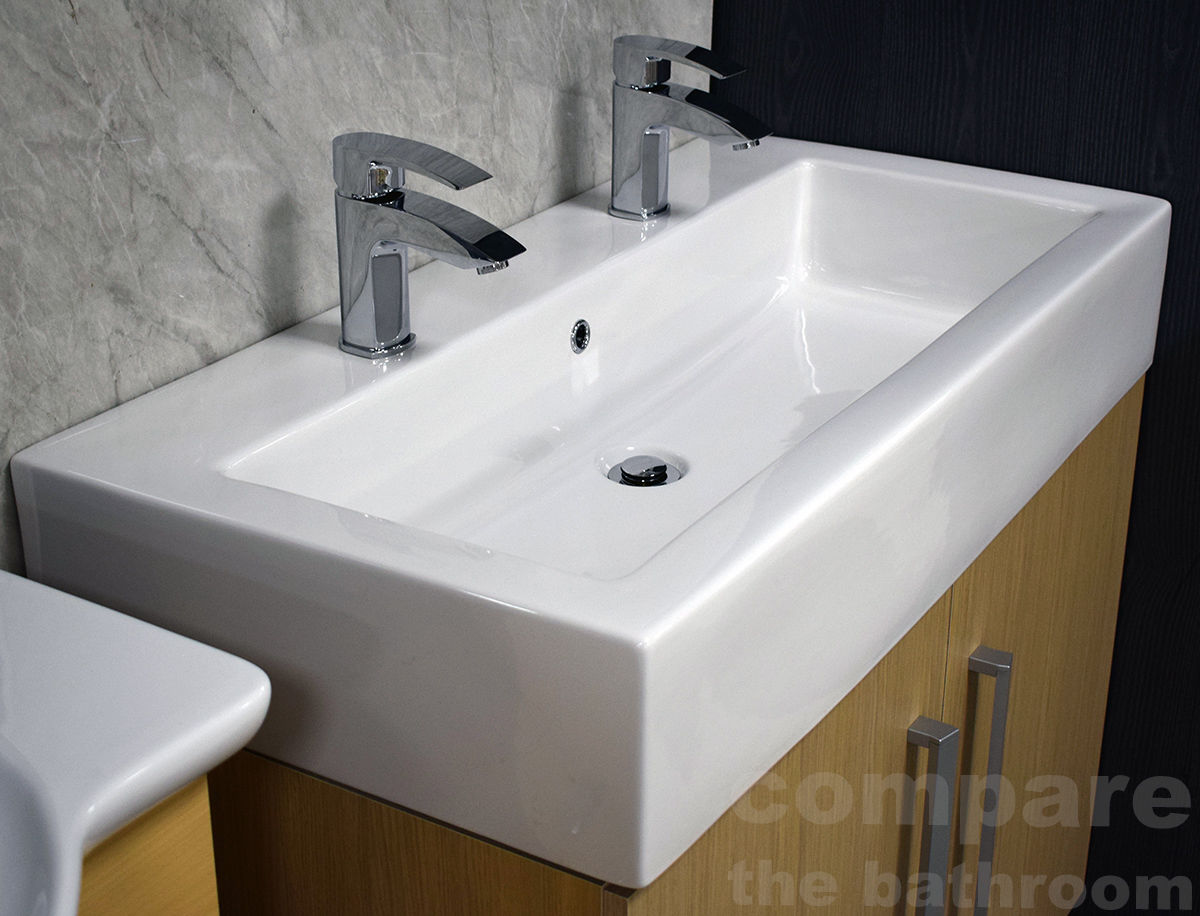 Slab Basin Extra Deep Bathroom Sink 2 Tap Hole His Amp Hers