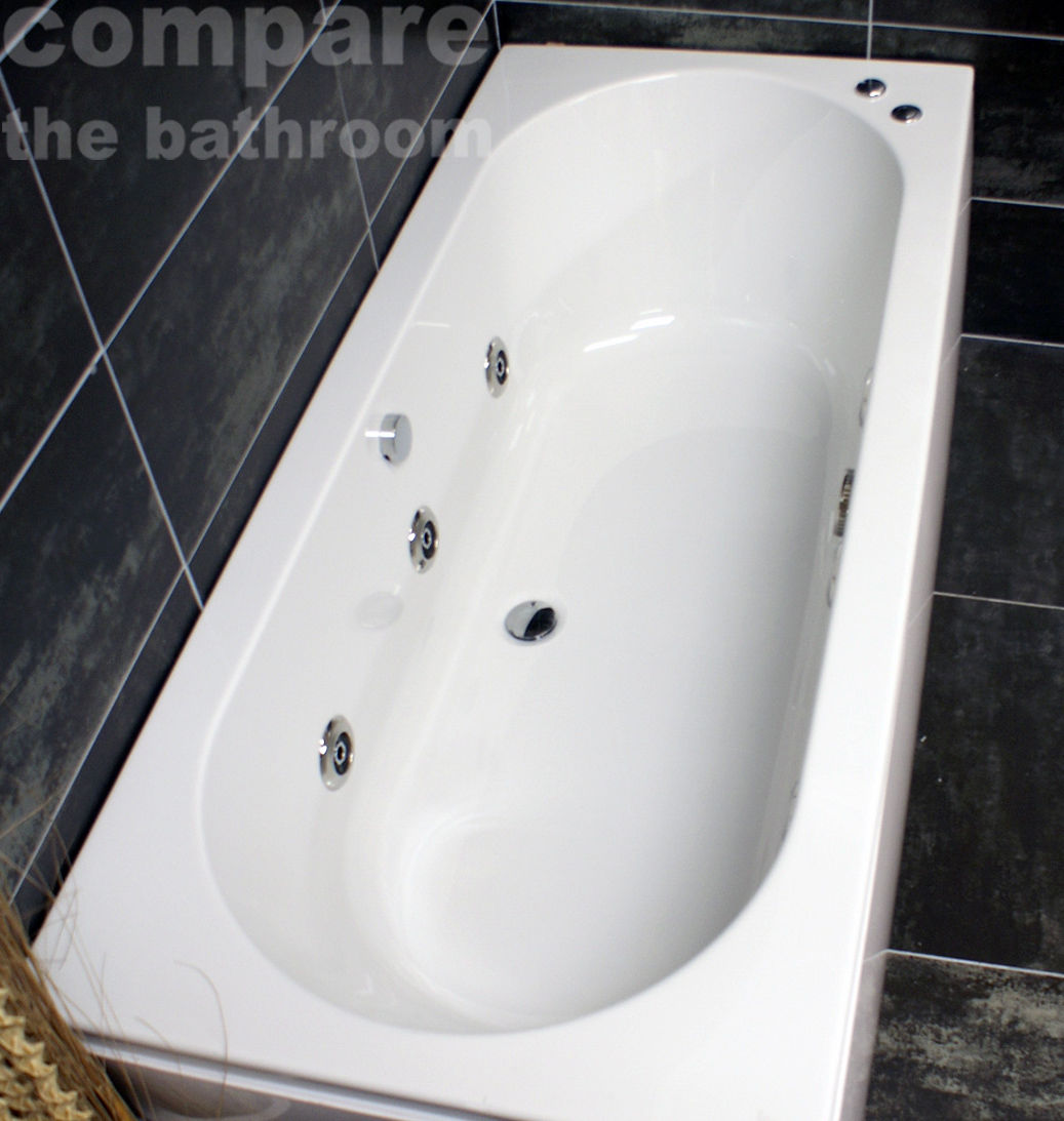 1700 × 750mm Double Ended Center Tap Hole Whirlpool Bath Reinforced ...