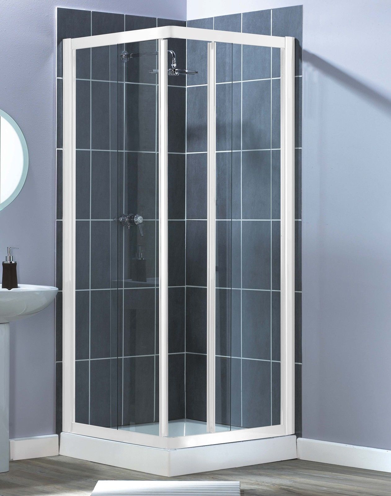 800mm Corner Entry Shower Enclosure Cubicle White Frame Clear Glass ...