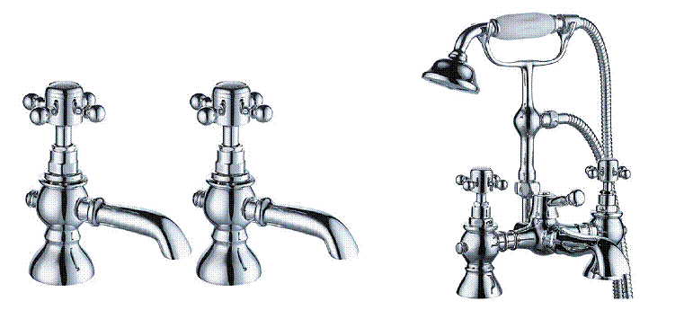 Mayfair York Basin Taps & Bath / Shower Mixer Set