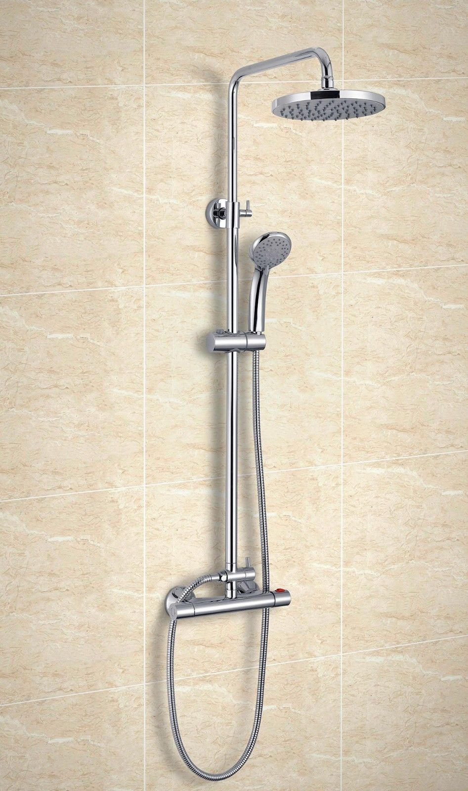 Thermostatic Bar Mixer Valve Shower Kit Dual Head Shower Set Rain Head  Modern