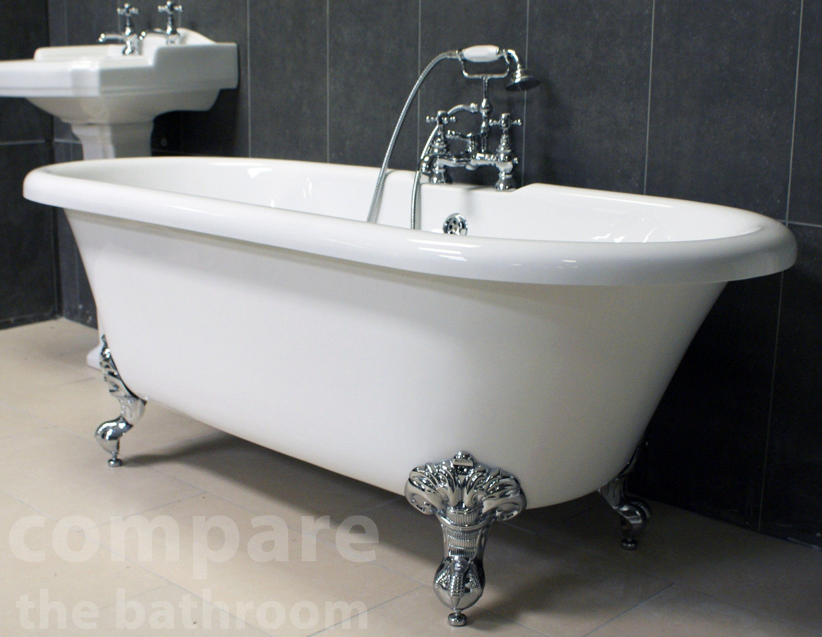 Traditional freestanding bath ball claw feet roll top for Best freestanding tub material