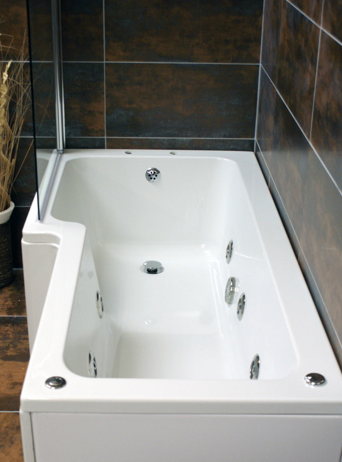 Vicky L Shaped Showerbath with 6 Jet Whirlpool Jacuzzi Spa System ...