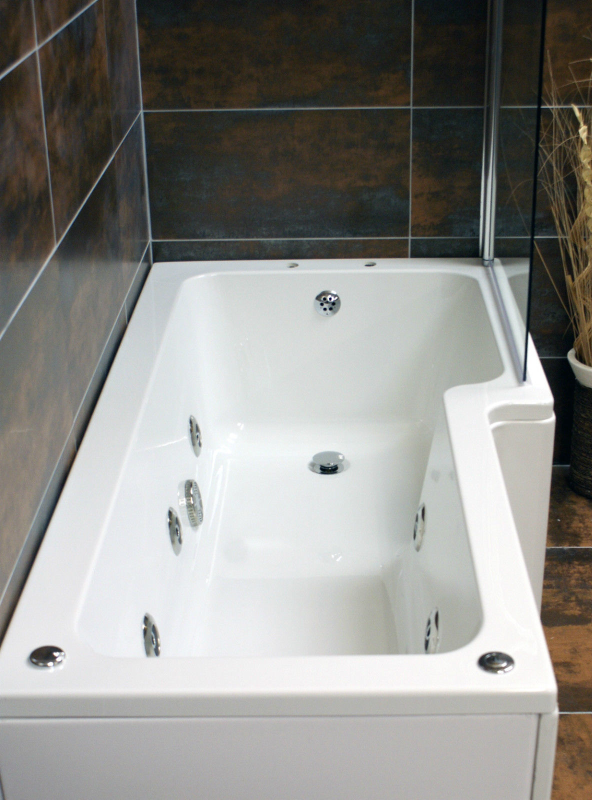 Vicky L Shaped Showerbath with 6 Jet Whirlpool Jacuzzi Type Spa ...