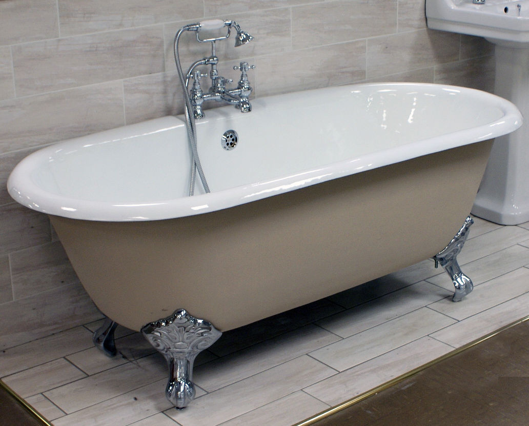 Cast Iron Bath + Ball Claw Feet Double Ended Classic Roll Top ...