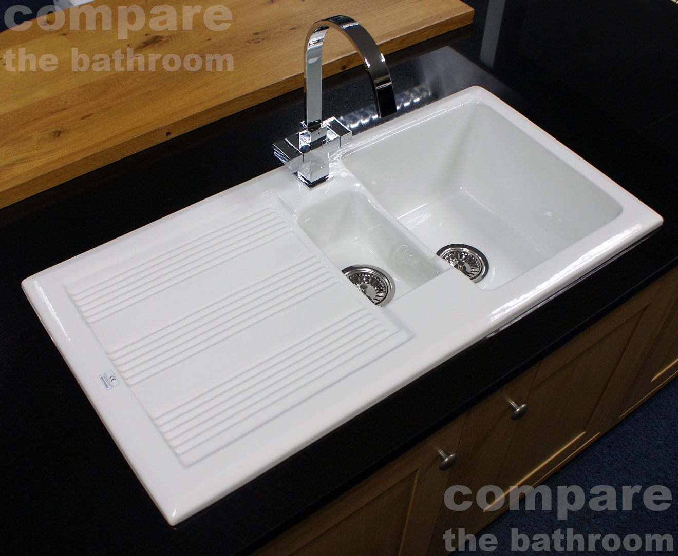 Ceramic 1.5 Bowl Kitchen Sink with Waste by Rak Ceramics White 20 ...
