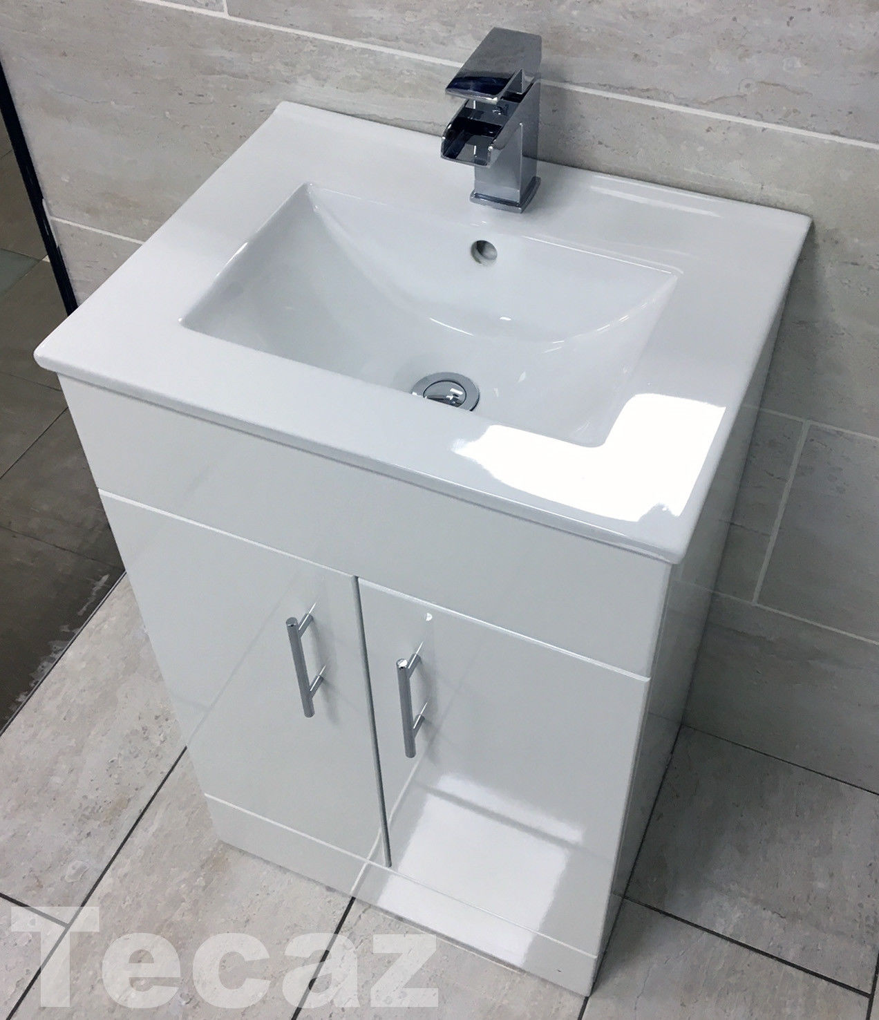 Merveilleux Nina 500mm Square Vanity Unit Basin Sink Square White Gloss Cloakroom  Ensuite