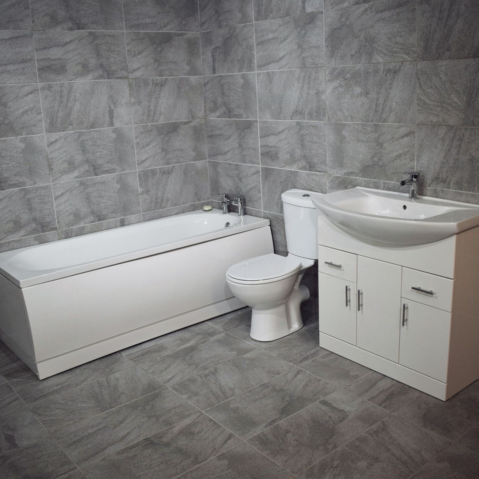 Onega Modern Bathroom Suite Vanity Sink Basin Unit Choice of Bath ...