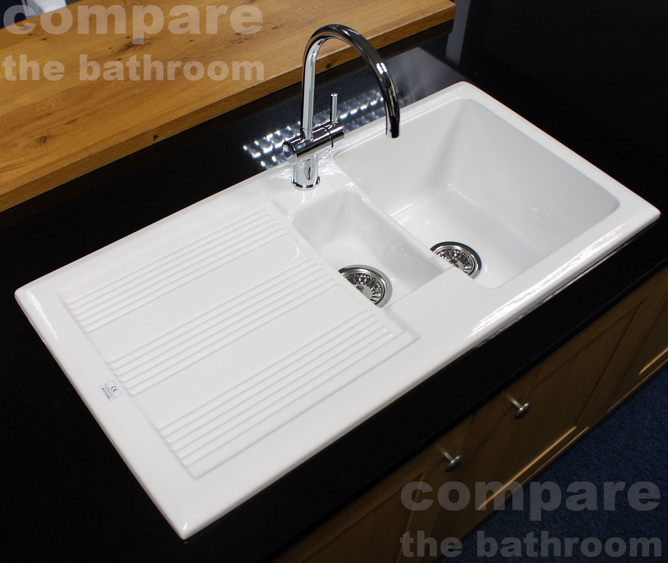 RAK Ceramics New Gourmet Sink 1 Reversible 1.5 Bowl White Ceramic ...
