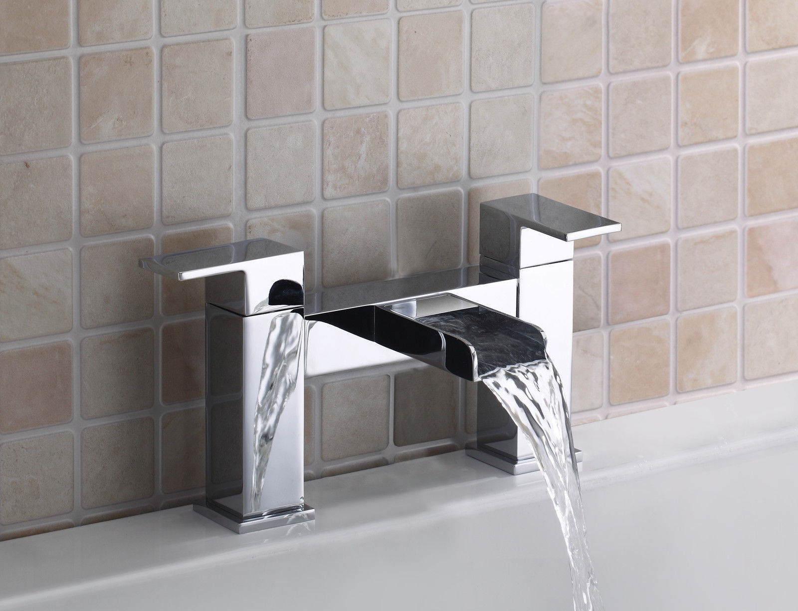 Belle Square Waterfall Style Bath Filler Tap Chrome Bathroom Mixer ...