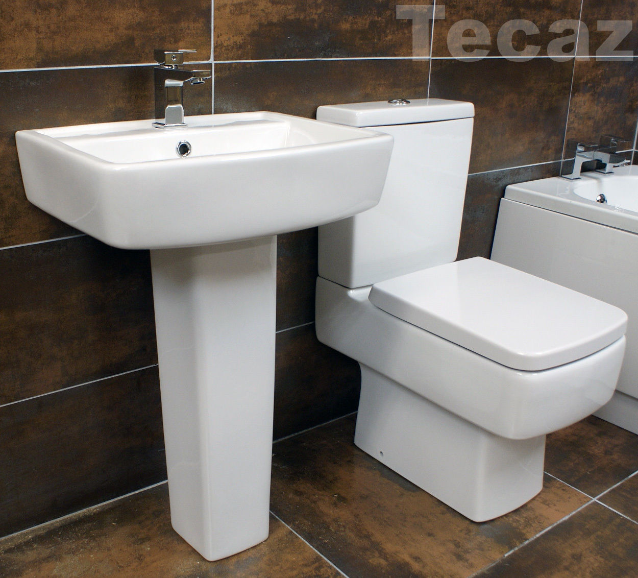 Modern square style bathroom suite end tap hole bath for Stylish bathroom suites