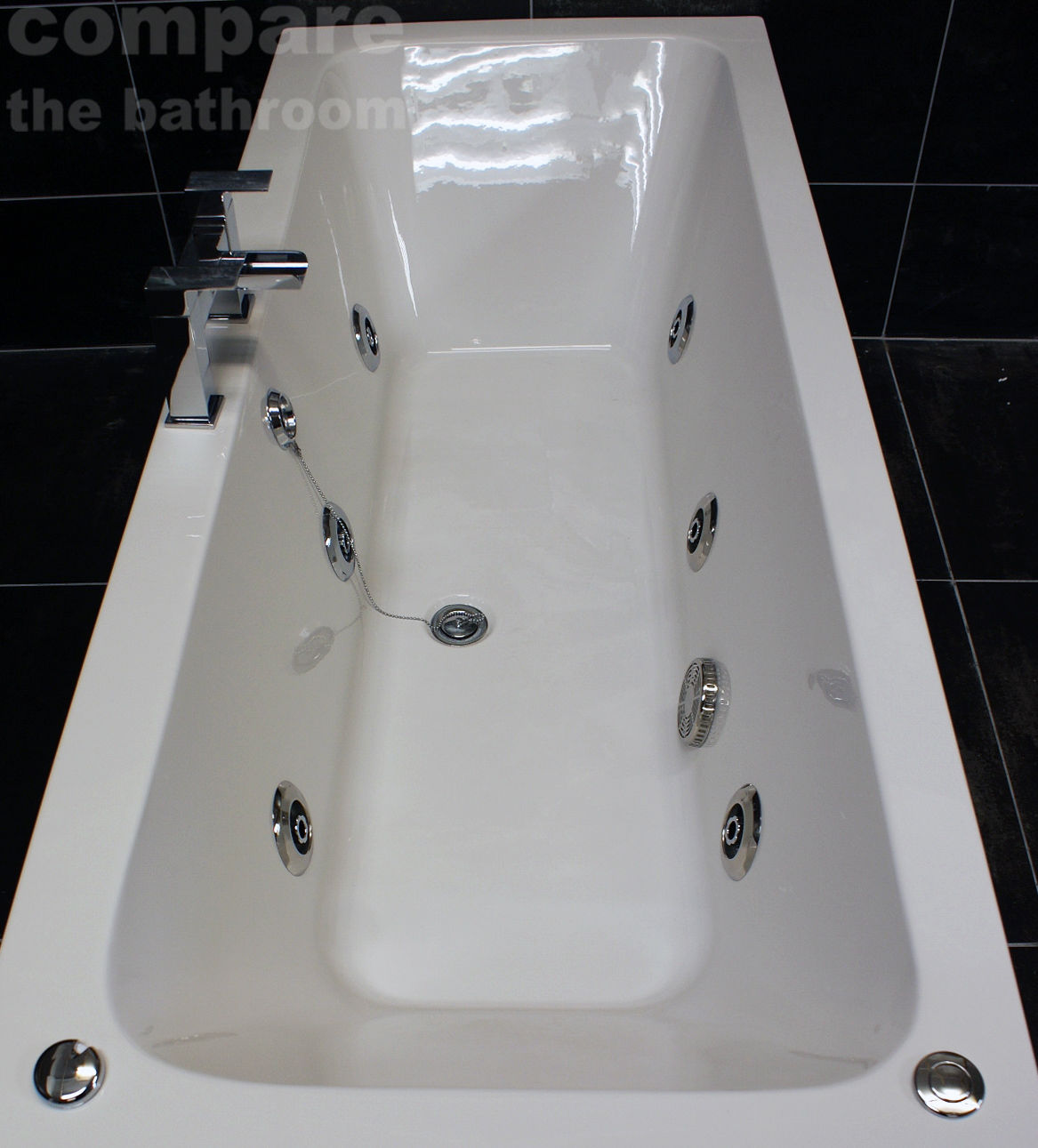 1800 x 800mm Double Ended Square Bath + 6 Jet Whirlpool Spa ...