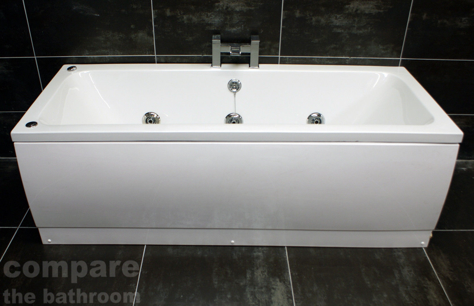 1800 x 800mm Double Ended Square Whirlpool Bath + 6 Jet Spa ...