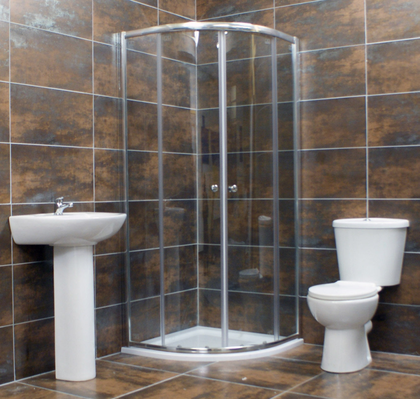 800mm Quadrant Shower Cubicle Bathroom Suite inc Basin + Toilet + ...