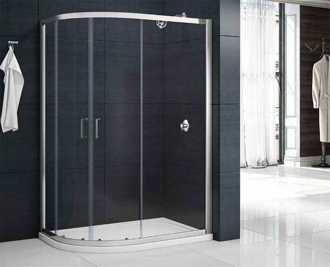 MERLYN MBOX Two Door Offset Quadrant Shower Cubicle Enclosure + Tray ...