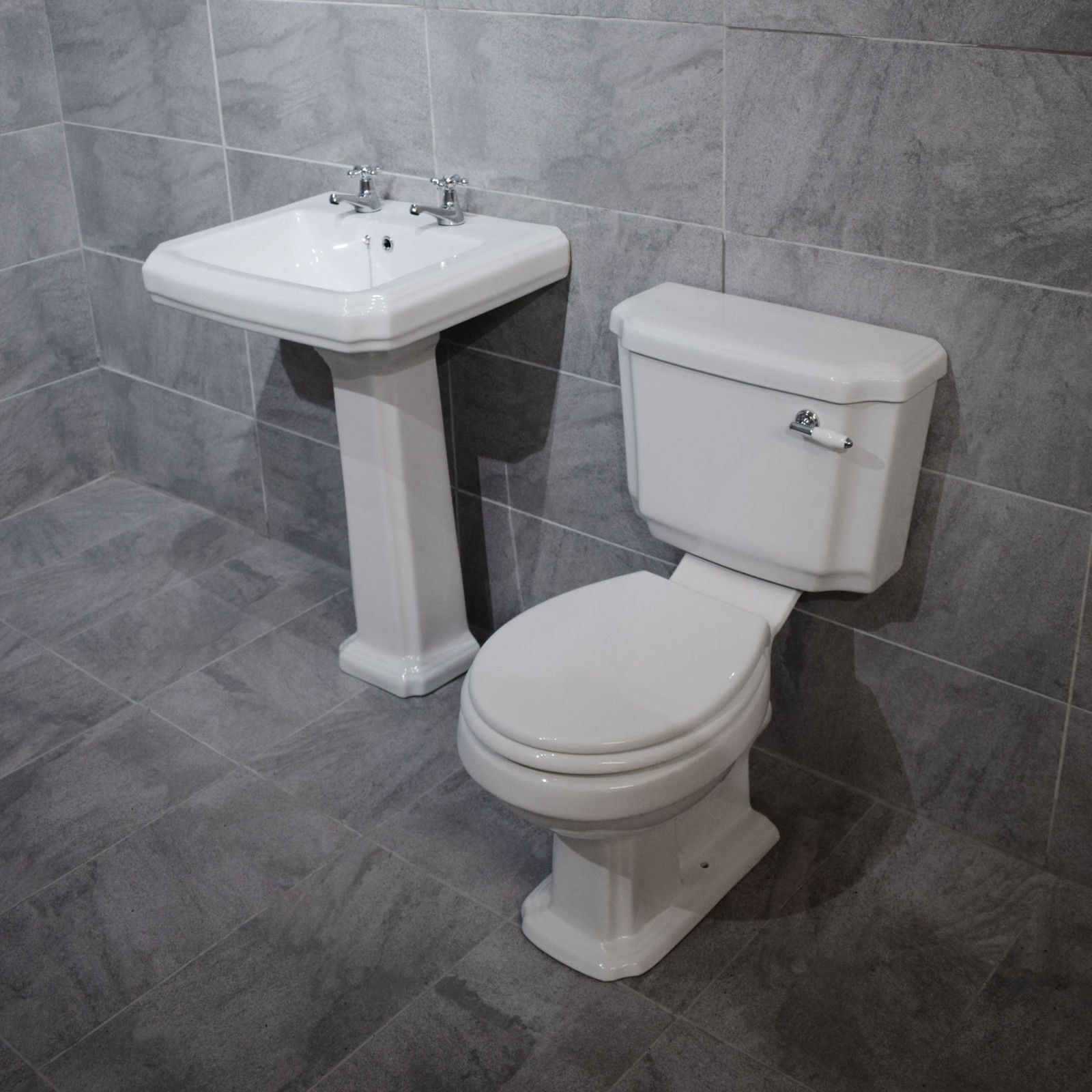 Traditional Victorian Bathroom Suite Sink Basin Toilet Set