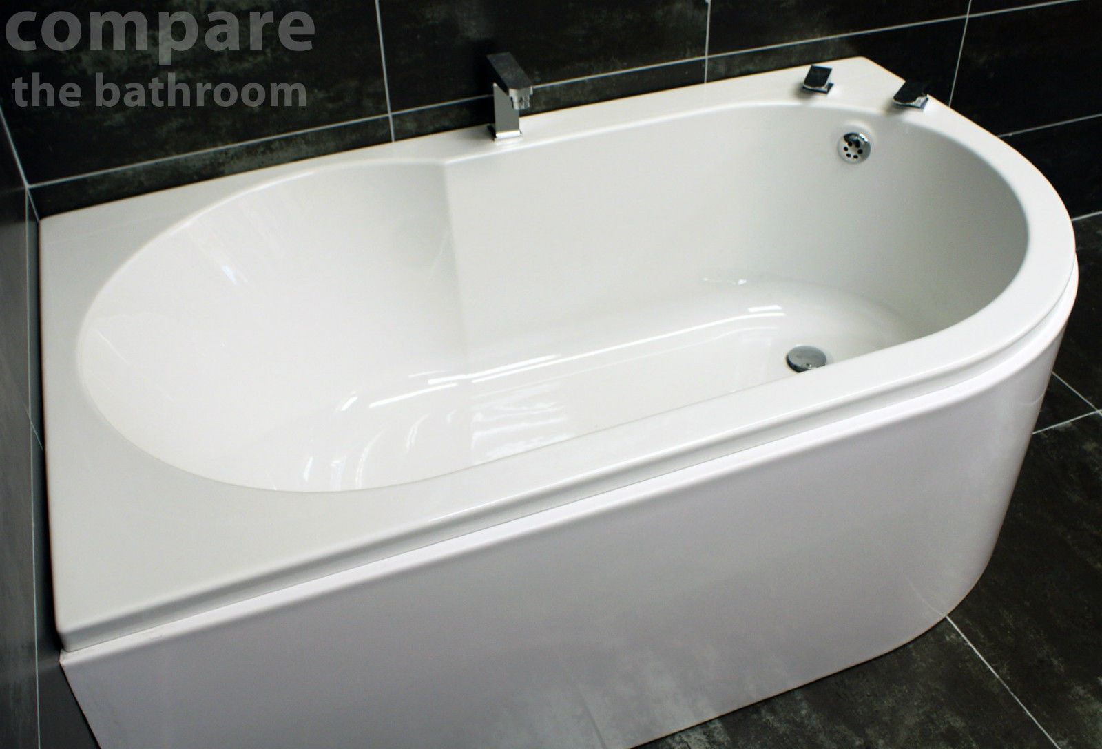Offset Corner Bath Acrylic 1550 x 900mm White Left or Right Hand ...