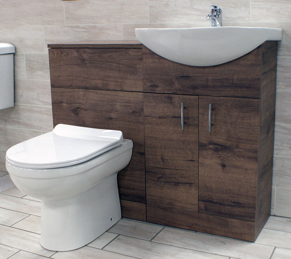 1050mm Walnut Oak Finish Bathroom Furniture Vanity Set