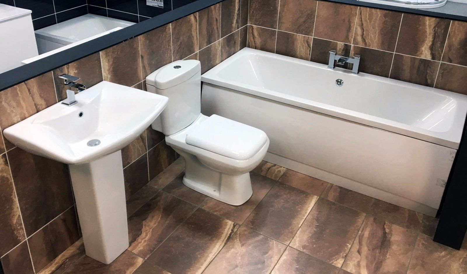 Millenium Complete Centre Tap Hole Bathroom Suite Bath + Basin + ...