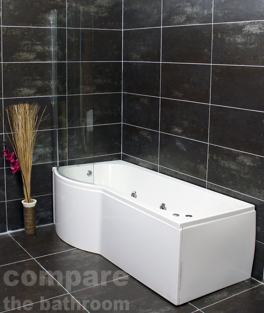 P Shape Whirlpool Showerbath Jacuzzi Style Jets with Bath Screen ...