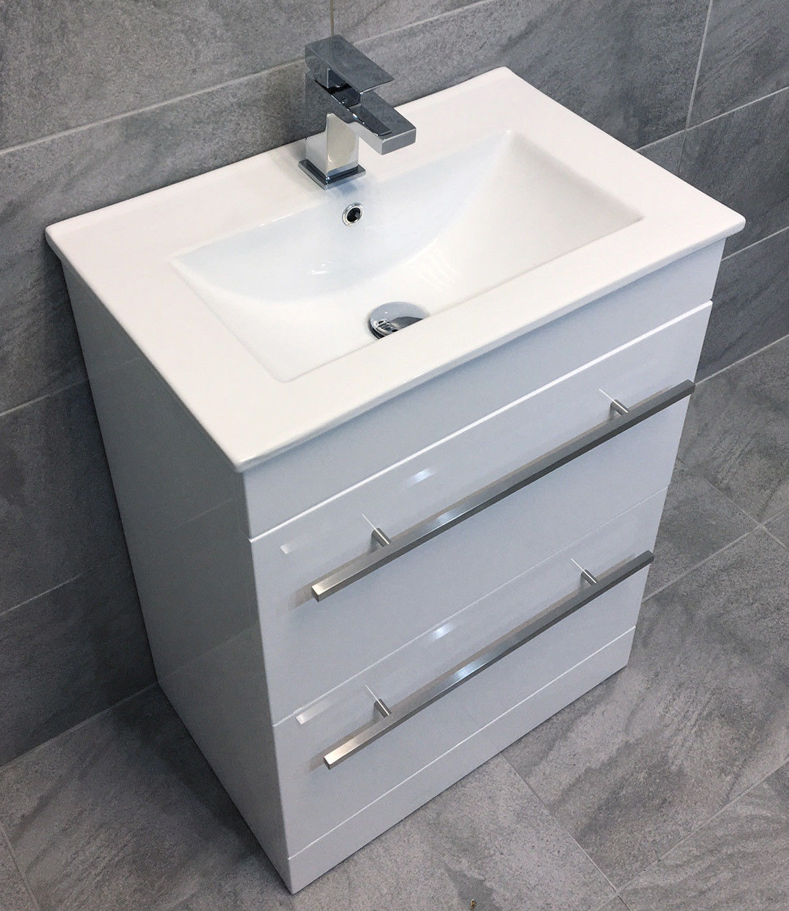 Savu 600mm Square Vanity Unit & Ceramic Basin Sink Unit Bathroom Drawer + Tap