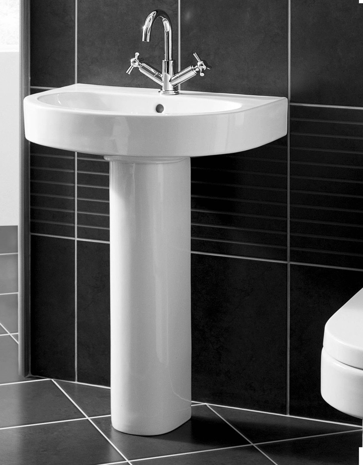 Vogue Cosmo Basin Pedestal Bathroom Sink Modern 1 Tap Hole Tewp